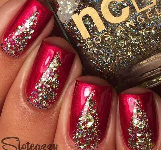 Top 40 beaux ongles rouges et or A