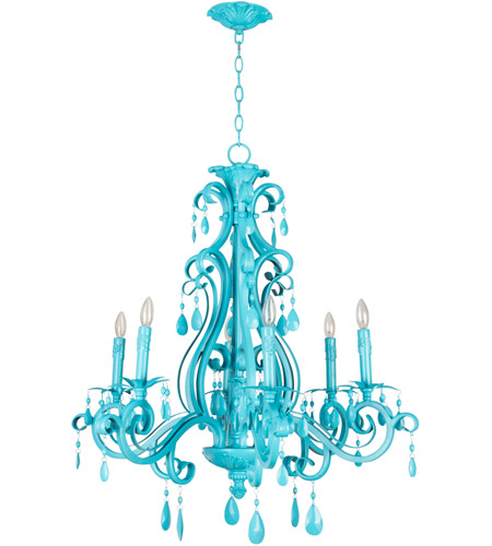 Craftmade 25626-TQ Lustre Englewood 6 Lumière 29 pouces Turquoise.