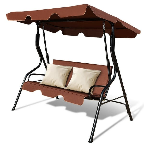 Magasinez Costway 3 Places Patio Canopy Swing Glider Hamac Amorti.