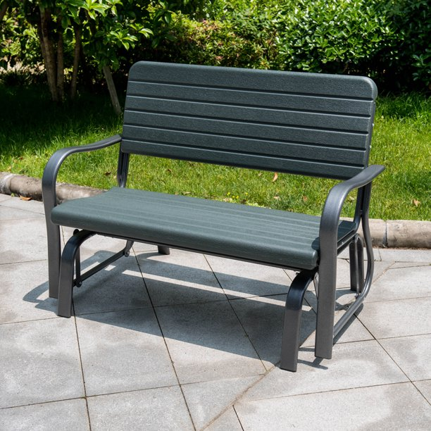 Sundale Outdoor Deluxe 2 Person Loveseat Glider Bench Chair Patio.