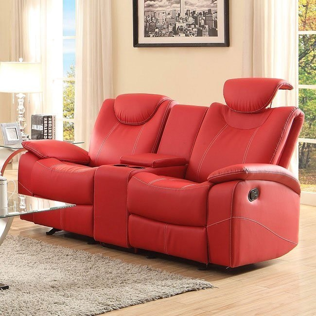 Causeuse inclinable Talbot Double Glider (rouge) par Homelegance.